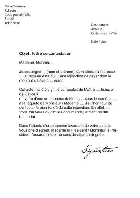 Lettre De Motivation De Huissier Lettre De Contestation Huissier Injonction De Payer Mod 232 Le De Lettre