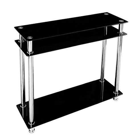 Narrow Glass Console Table Chinkyboo 3 Tier Modern Black Glass Narrow Console Table Chrome Finish Leg Furniture