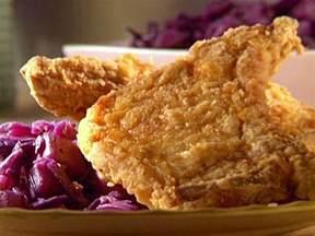 chicken fried pork chops with chunky pear chutney