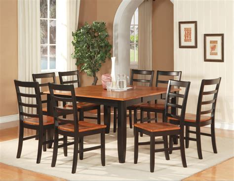 Dining Room Tables Sets 7 Pc Square Dinette Dining Room Set Table With 6 Wood Seat Chairs Black Cherry Ebay