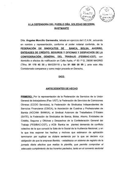 CGTBANKIA - Escrito a Defensor del pueblo