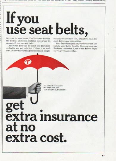travelers insurance vintage ad seat belts