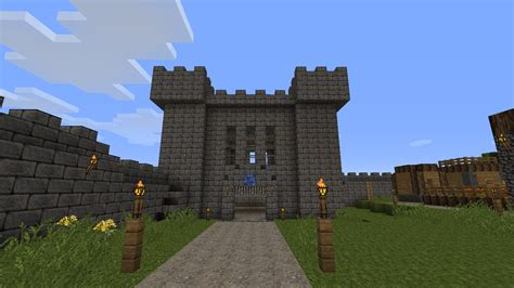 minecraft boat gate yet another medieval town wip with aquaduct castle