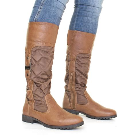womens brown quilted knee high slim fit calf