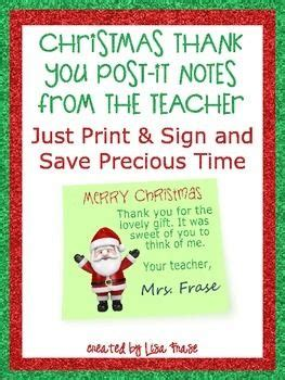printable christmas thank you notes from teachers christmas thank you printable post it notes from the