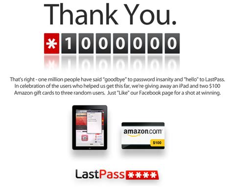 Lastpass Premium Giveaway - lastpass one million user giveaway an apple ipad and two 100 amazon gift cards the