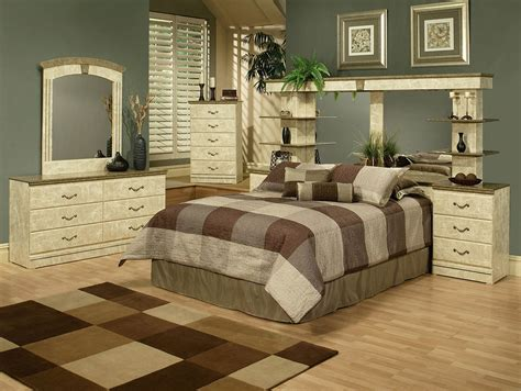wall unit bedroom set green marble finish queen wall unit with 2 nightstands