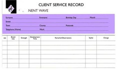 avanti hair amp beauty client service record cards