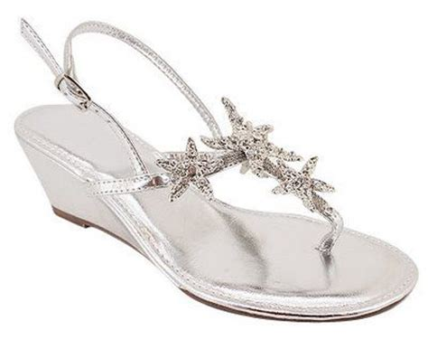 starfish sandals wedding silver wedge sandals starfish and wedding on