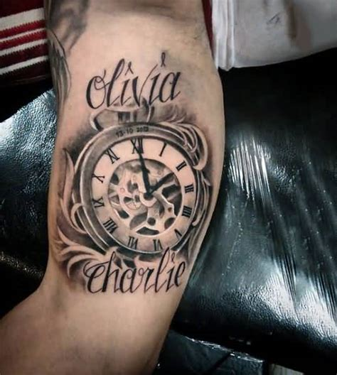 olivia tattoo antique numeral clock with on