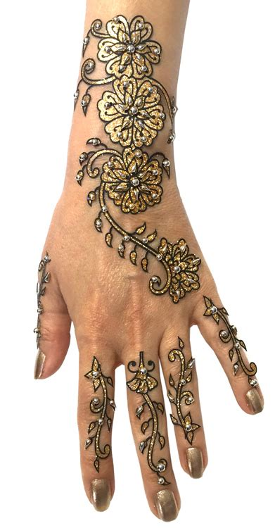 gold henna temporary tattoo 6 glitter and henna temporary set in gold