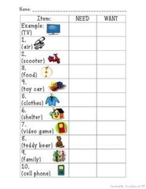 Needs Vs Wants Worksheet by I Can Sort Needs And Wants Picture Worksheet Economics