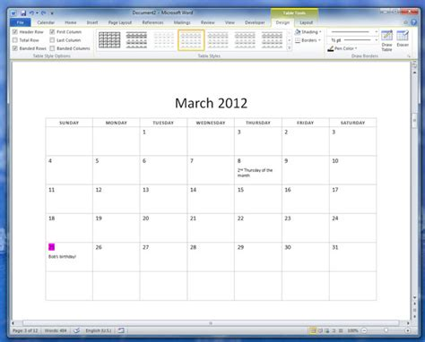 download 2012 12 month basic calendar free