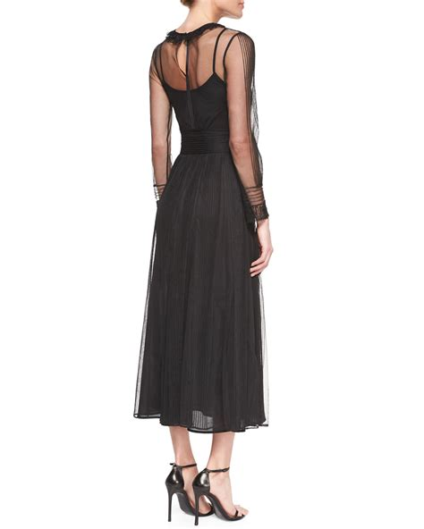Sleeve Chiffon Dress lyst valentino sleeve chiffon midi dress in black