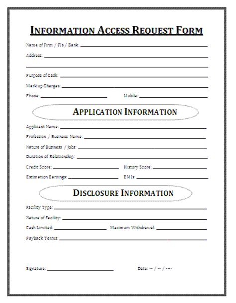 information access request form a to z free printable
