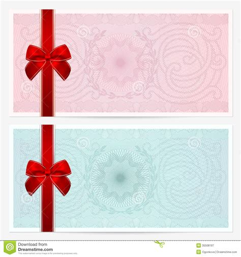 background voucher gift certificate voucher coupon bow guilloche royalty