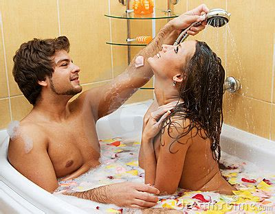 naked sex in the bathroom beautiful young couple enjoying a bath royalty free stock