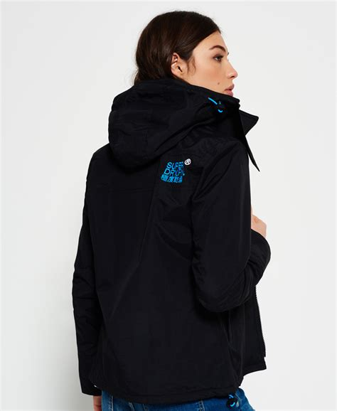 Jaket Windcheater Blue Black Chelsea new womens superdry pop zip hooded arctic sd windcheater jacket black fluro blue ebay