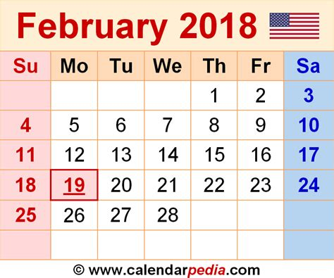 February 2018 Calendar February 2018 Calendars For Word Excel Pdf