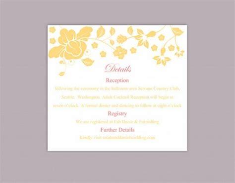 diy wedding card template diy wedding details card template editable word file