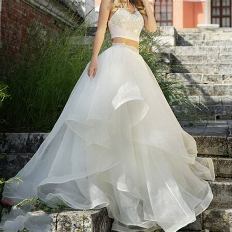 white tiered maxi tulle skirt for bridal 2016 chic