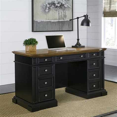 Home Office Desk Black Home Styles Americana Black Desk With Storage 5003 18 The Home Depot