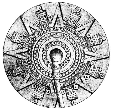 Aztec Calendar Symbols Free Coloring Pages Of Aztec Calendar Symbols