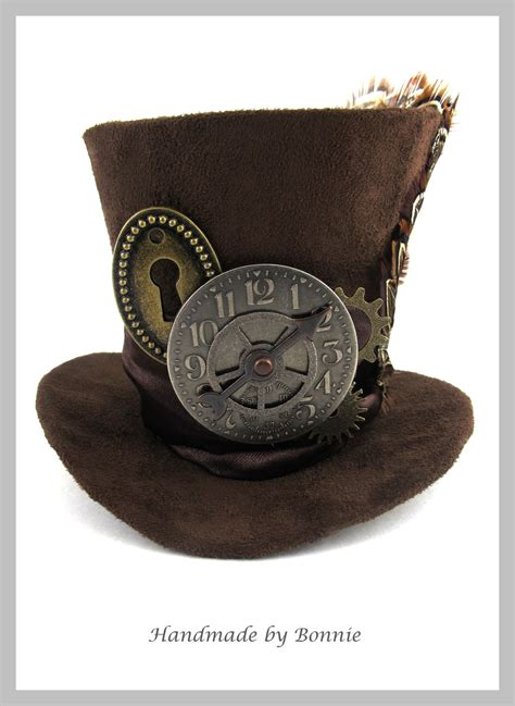 steunk mad hatter mini top hat brown steunk mini top hat brown suede clock gears keyhole