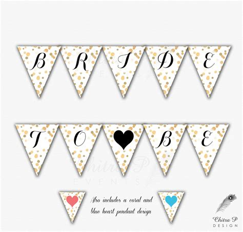 Balloonable Banner Flag Bridal Shower To Be gold bridal shower banner printable to be confetti