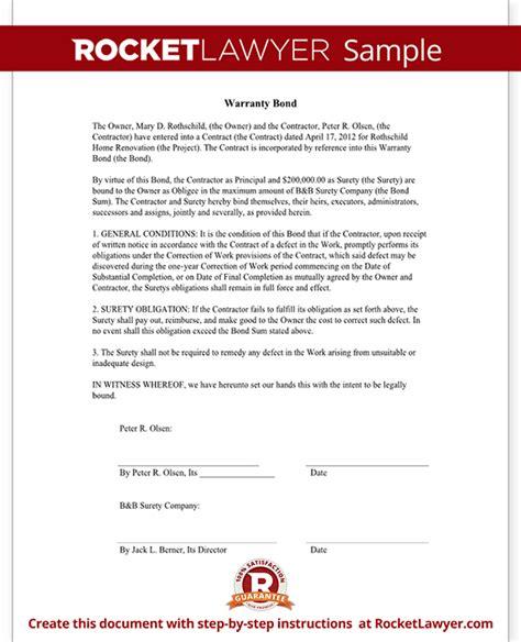 bond agreement template warranty bond form rocket lawyer