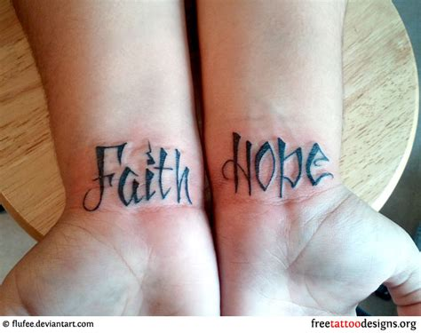 hope gallery tattoo drawing of the word faith