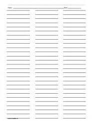 Column Paper Template by Ruled Paper With Three Columns Printables Lists
