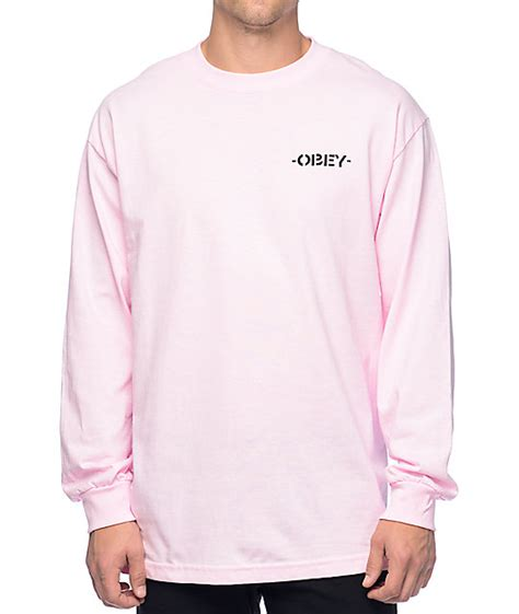 light pink long sleeve shirt obey mother earth light pink long sleeve t shirt zumiez ca