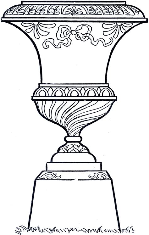 line drawing vintage line garden urn the graphics