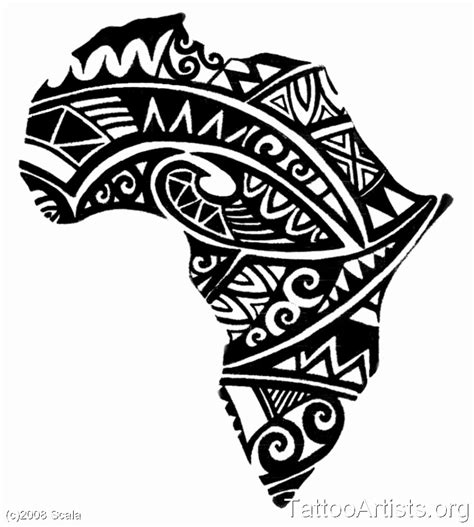 africa map tattoo designs black map design