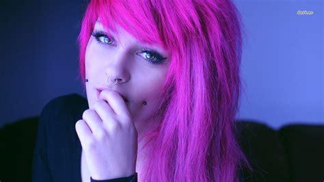 wallpaper girl emo emo pink hairs girl hd wallpaper stylishhdwallpapers