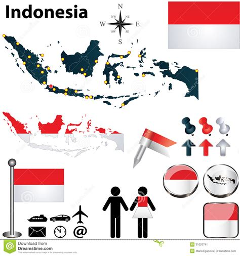 indonesia map vector free map of indonesia stock vector illustration of flag