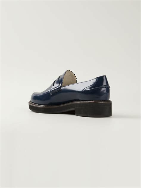 navy loafer jil sander navy chunky sole loafers in blue lyst