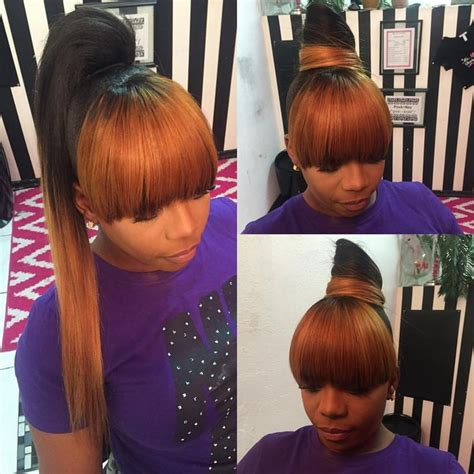 ponytail and bangs sew in tutorial for black women pictures updo weave ponytails black hairstle picture