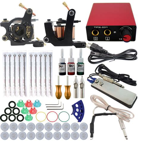 tattoo kit worldwide shipping complete tattoo kit 2 guns machines 3 ink sets power
