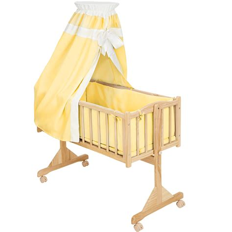 Rocking Baby Crib Baby Swinging Crib Rocking Cradle Cot Bassinet Bed Wood Roof Yellow Ebay