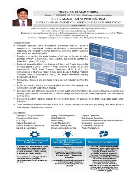 resume of logistics supply chain professional with 14 years of enri