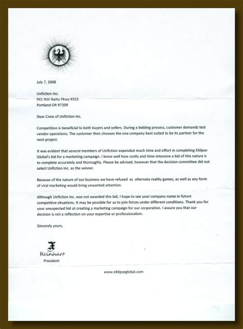 Decline Supplier Letter Vendor Rejection Letter Sle