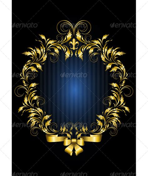 invitation card formats stock vector graphicriver gold vintage frame with blue