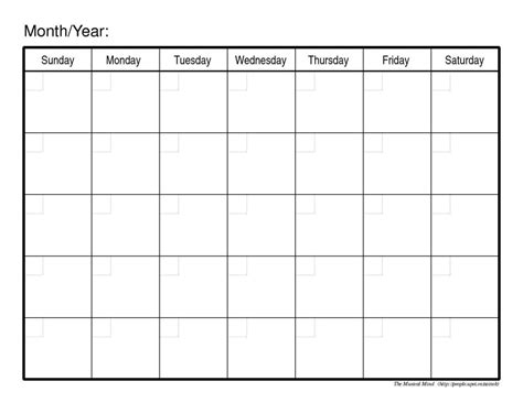 blank monthly calendar template pdf monthly calendar template yearly calendar printable