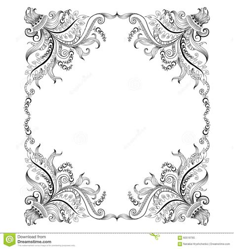 frame design drawing frame with hand drawing decorative ornaments stock vector