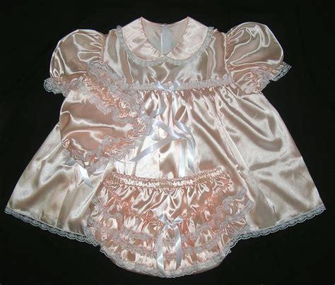 sissy baby in satin dress adult sissy baby shimmering satin dress pearl beach ebay