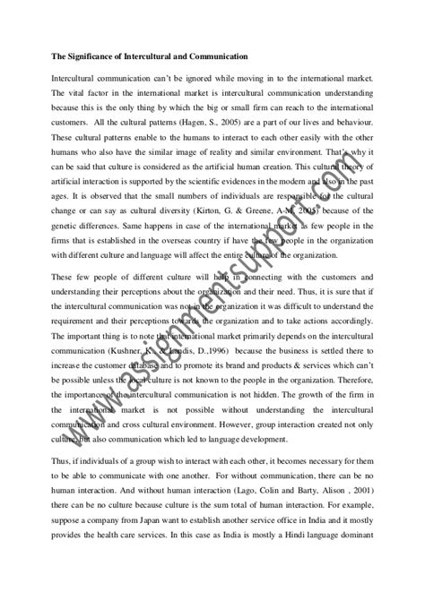 Intercultural Communication Essay by Intercultural Communication In International Market Essay Sle From