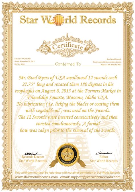 guinness world record certificate template guinness world record certificate template image