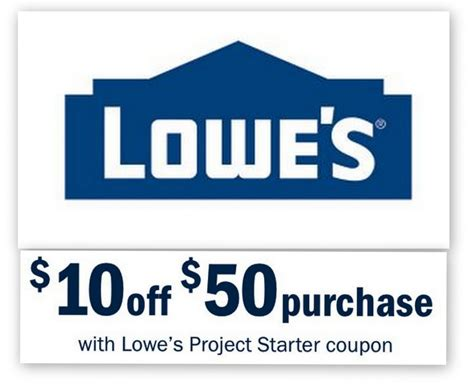 Lowes: $10 Off $50 Entire Purchase Printable Coupon